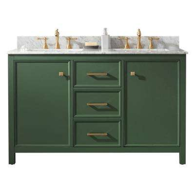 54 in. W x 22 in. D Vanity in Vogue Green with Marble Vanity Top in White with White Basin with Backsplash