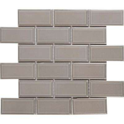 Gray Bevel 11.47 in. x 11.63 in. x 6 mm Glazed Ceramic Mesh-Mounted Mosaic Tile (13.35 sq. ft. / case)