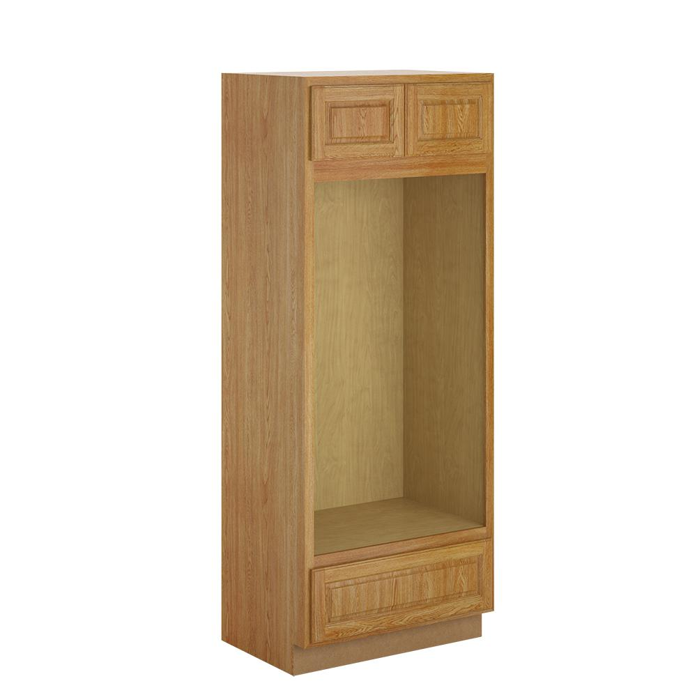 Hampton Bay Madison Assembled 33x84x24 In Pantry Utility Double Oven Cabinet In Medium Oak