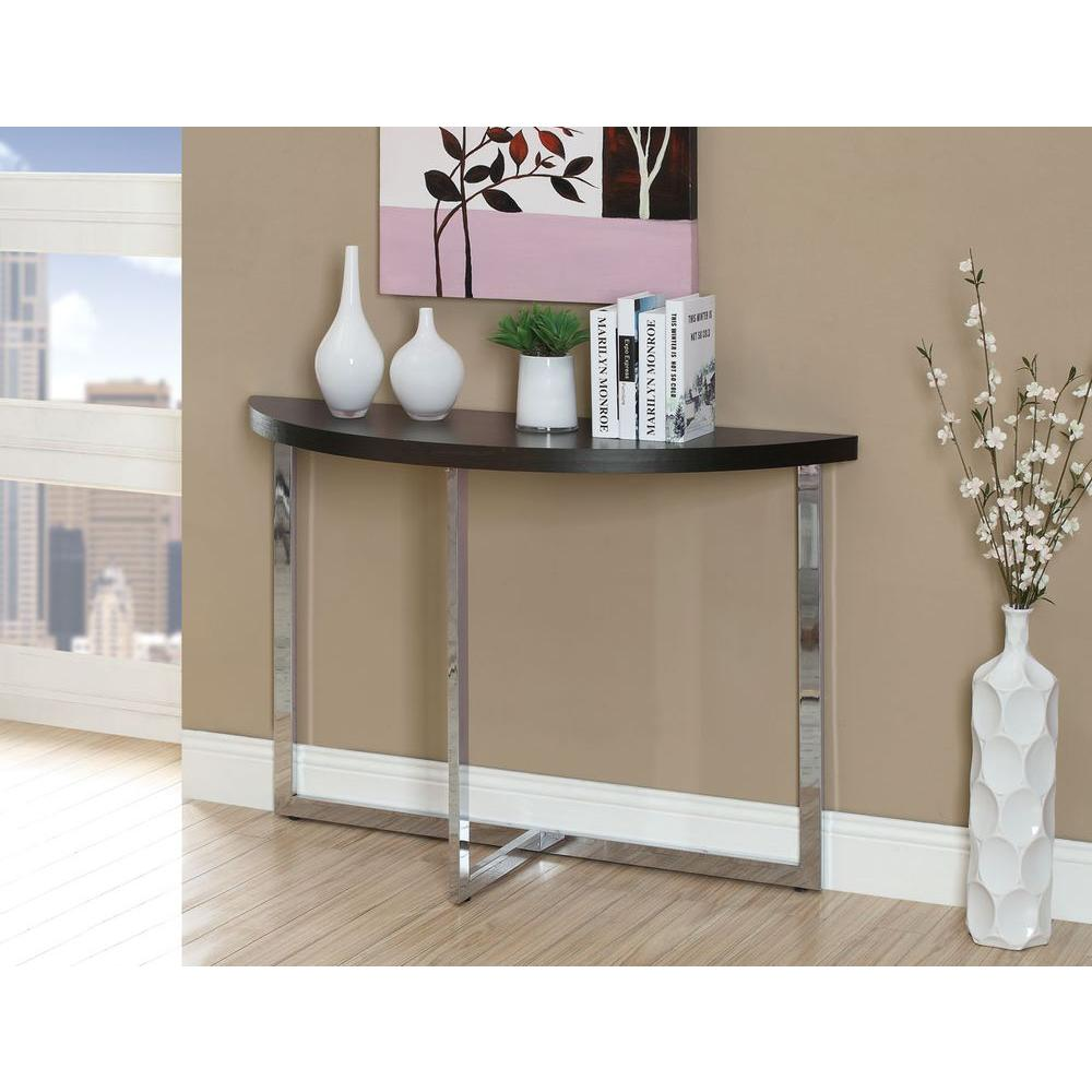 Monarch Specialties Cappuccino And Chrome Console Table