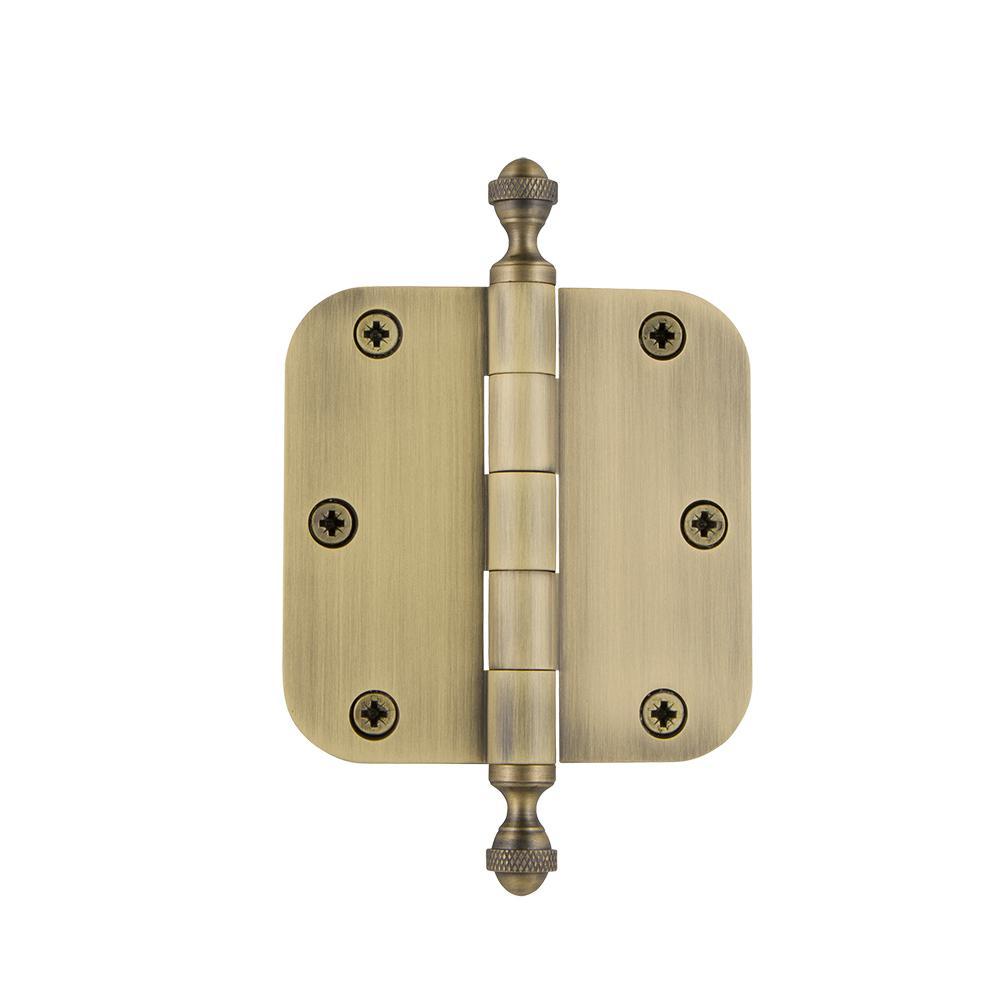 3.5 in. Acorn Tip Residential Hinge with 5/8 in. Radius Corners in Vintage Brass