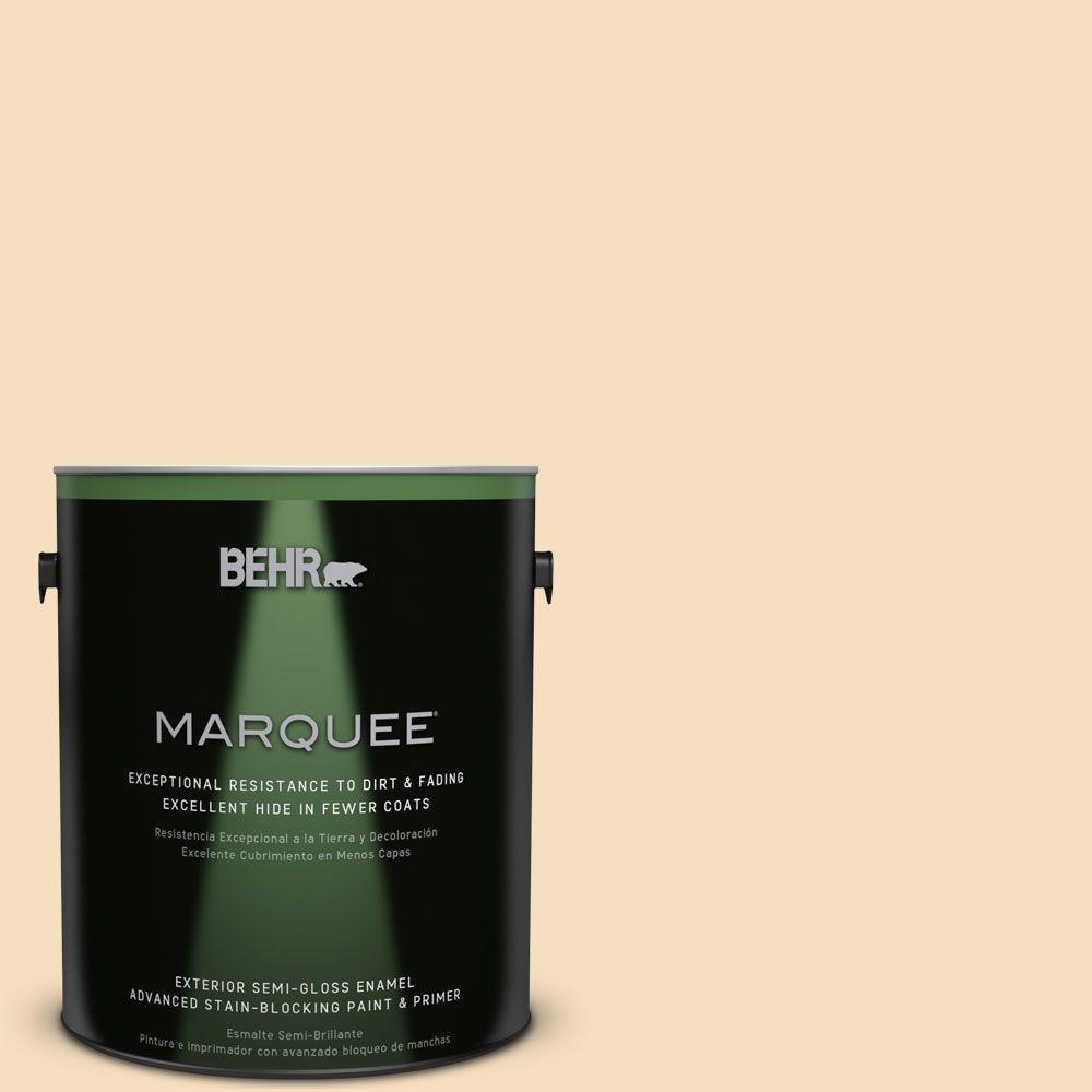 BEHR MARQUEE 1-gal. #PPL-41 Tea Cookie Semi-Gloss Enamel Exterior Paint