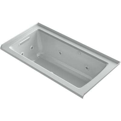 Archer 60 in. Left-Hand Drain Rectangular Alcove Whirlpool and Air Bath Bathtub in Ice Grey