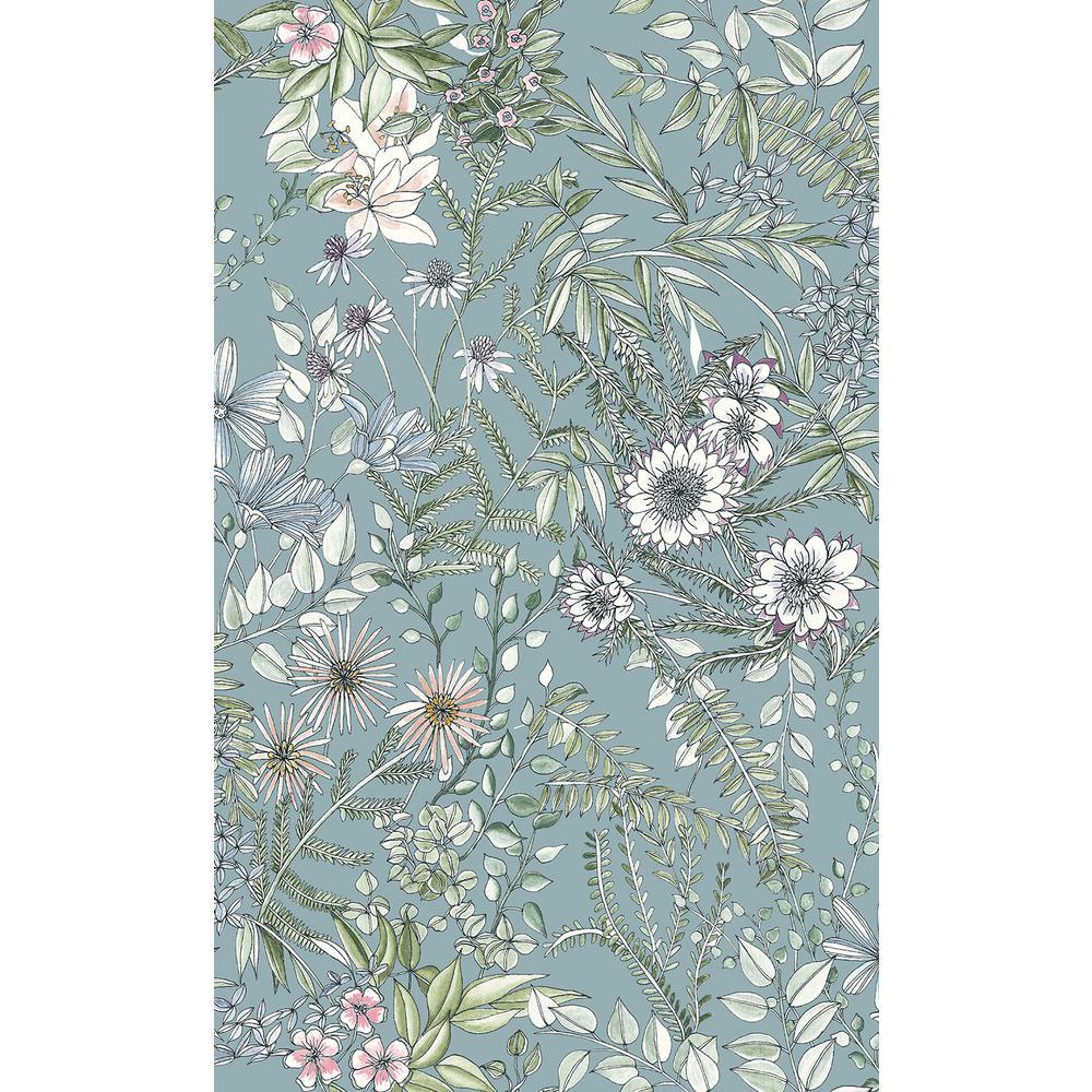 8 in. x 10 in. Full Bloom Blue Floral Wallpaper Sample