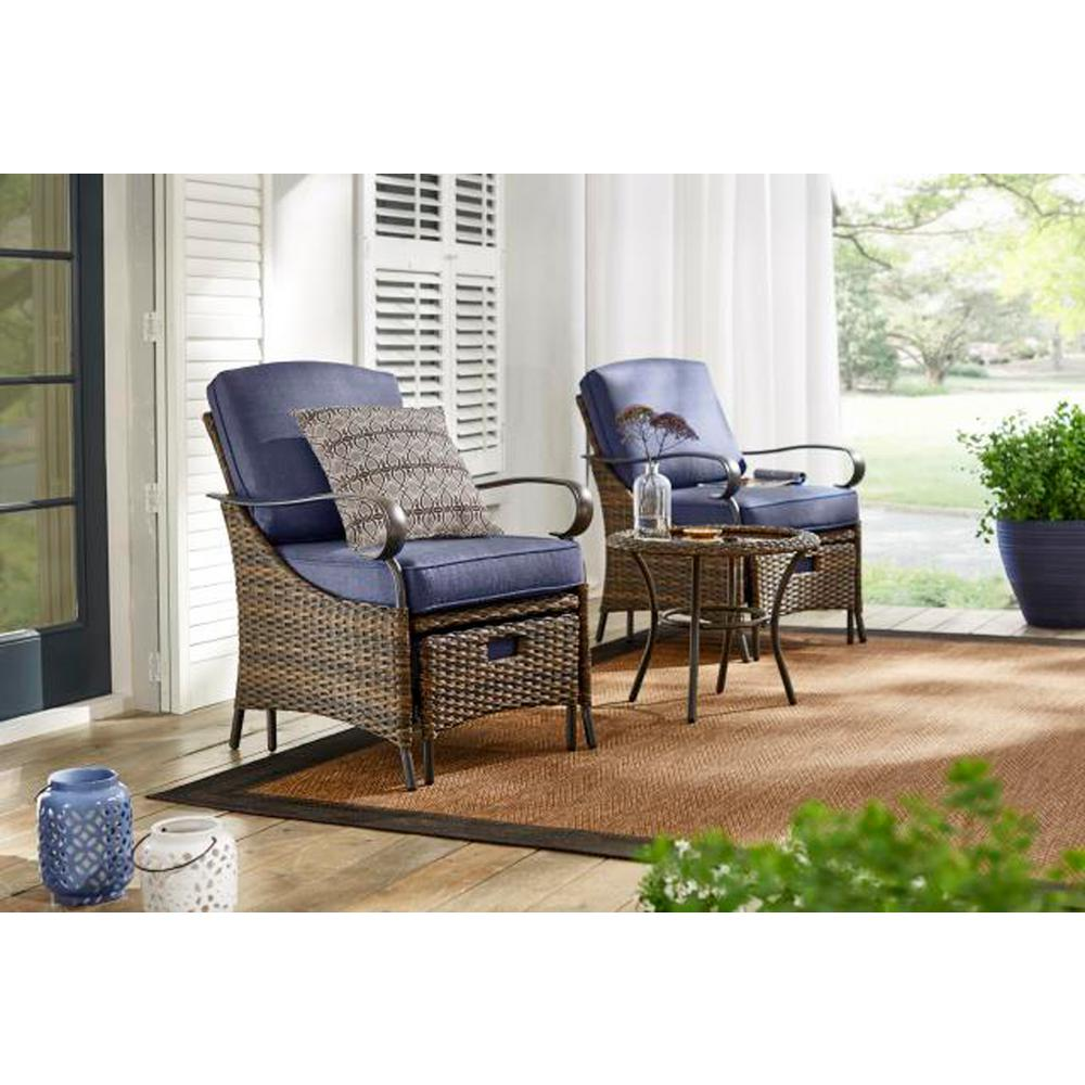Hampton Bay Layton Pointe 5 Piece Seating Set With Olefin Blue