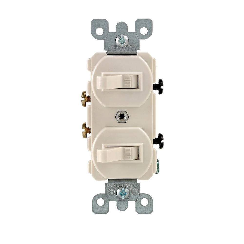 Leviton 15 Amp Combination Double Switch, Light Almond