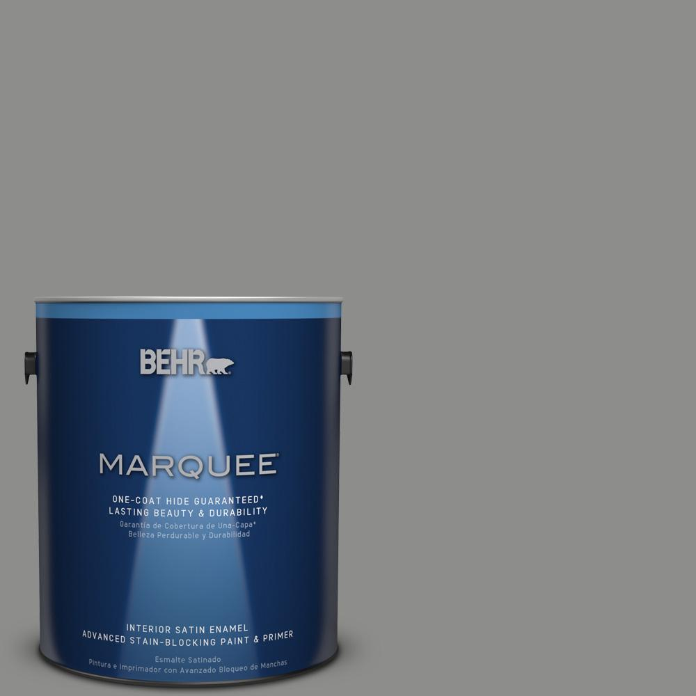 1 gal. #PPU24-20 Letter Gray Satin Enamel Interior Paint and Primer