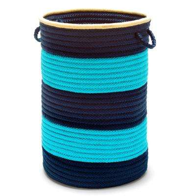 Color Pop Round Polypropylene Hamper Turquoise Navy 16 in. x 16 in. x 24 in.