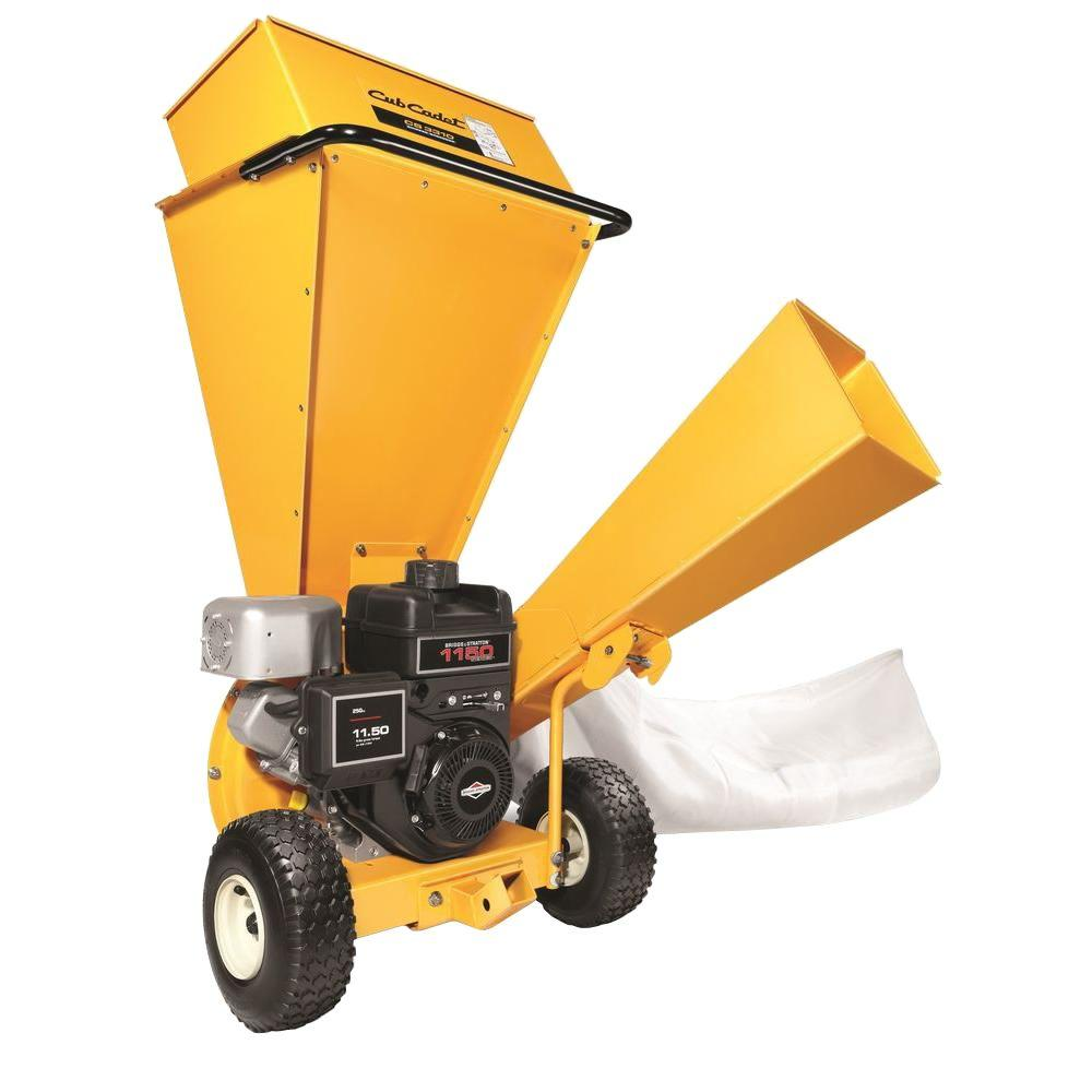 Cub Cadet 3 In Dia 250 Cc 2 In 1 Upright Gas Powered Chipper Shredder With Rider Pin Tow Bar Included Cs 3310 The Home Depot