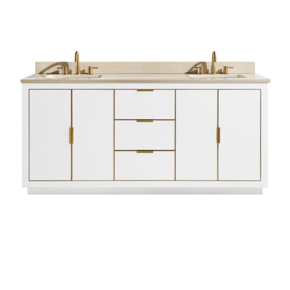 Avanity Austen 73 in. W x 22 in. D Bath Vanity in White with Gold Trim with Marble Vanity Top in Crema Marfil with White Basins