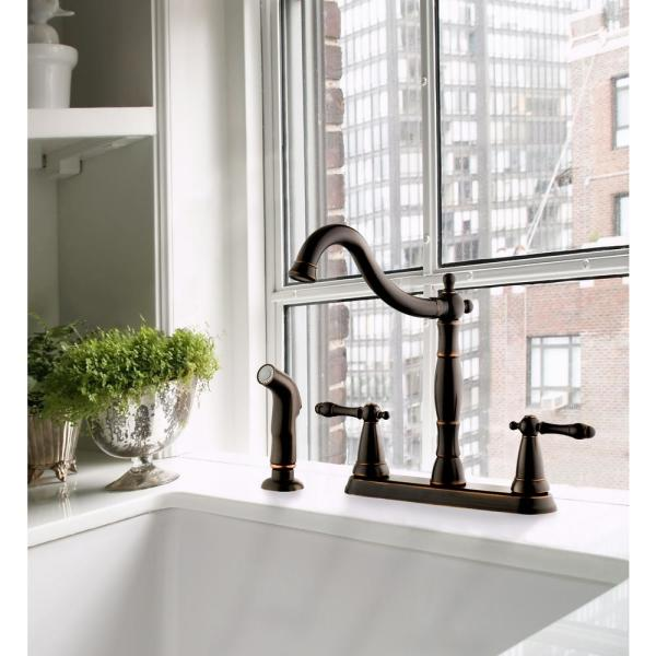 Design House Oakmont 2 Handle Standard Kitchen Faucet With Side Sprayer In Oil Rubbed Bronze 523233 The Home Depot