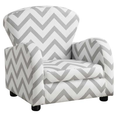 Jasmine Grey/ Black/ White Armrests Media Chair