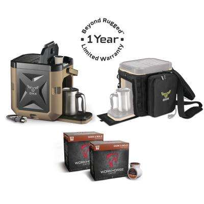 COFFEEBOXX Single Serve Coffee Maker in Desert Tan with Accessory Kit