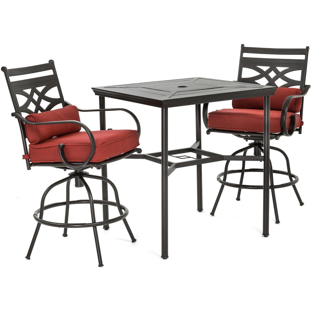 Hanover Montclair 3 Piece Metal Outdoor Bar Height Dining Set With Chili  Red Cushions,
