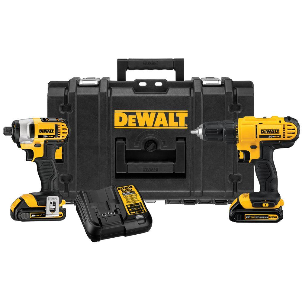 DEWALT 20-Volt MAX Lithium-Ion Cordless Drill/Driver and Impact Combo Kit (2-Tool) with (2) Batteries 1.3Ah, Charger and Case