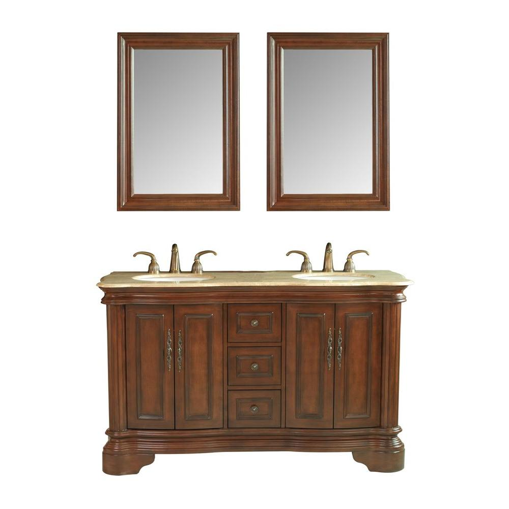 stufurhome Moscone 58 in. Vanity in Walnut with Marble Vanity Top in Travertine and Mirror