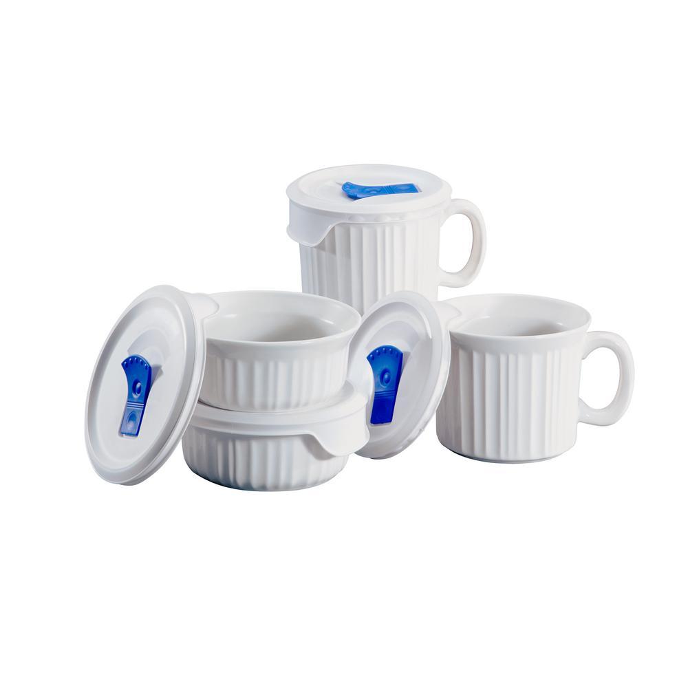 French White 8-Piece Round Stoneware Pop-Ins Mug Set with Vent Tab Lids