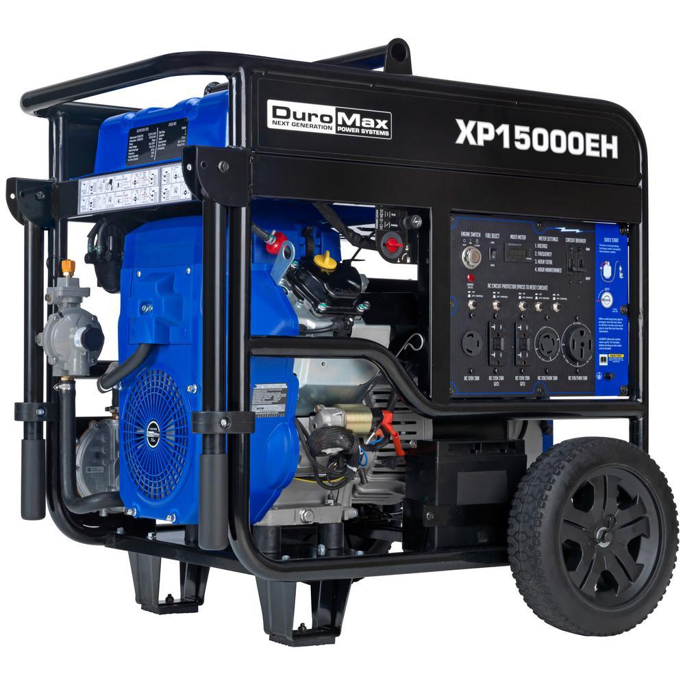 Duromax 12500-Watt 713 cc Portable Gasoline / Propane Powered Dual Fuel Generator with Twin Engine