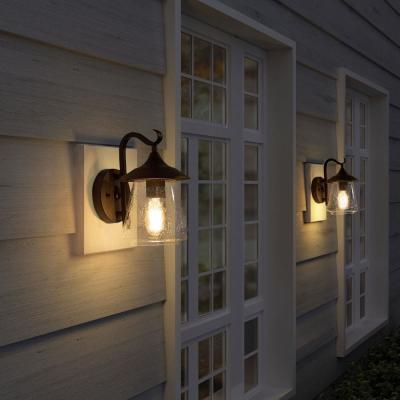 Exterior 1-Light Black Outdoor Lantern Sconce Decorative Wall Mount Coach Light with Seeded Glass Shade LED Compatible