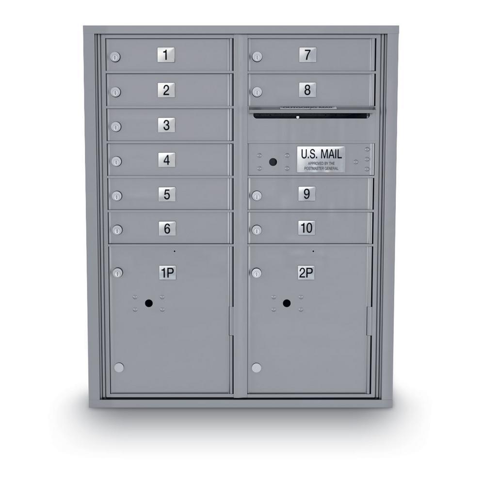 10-Door Standard 4C Mailbox with 2 Parcel Door