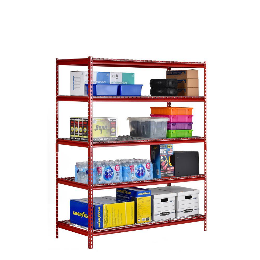 60 in. W x 18 in. D x 72 in. H Red 5 Shelf Z-Beam Boltless Steel Shelving Unit