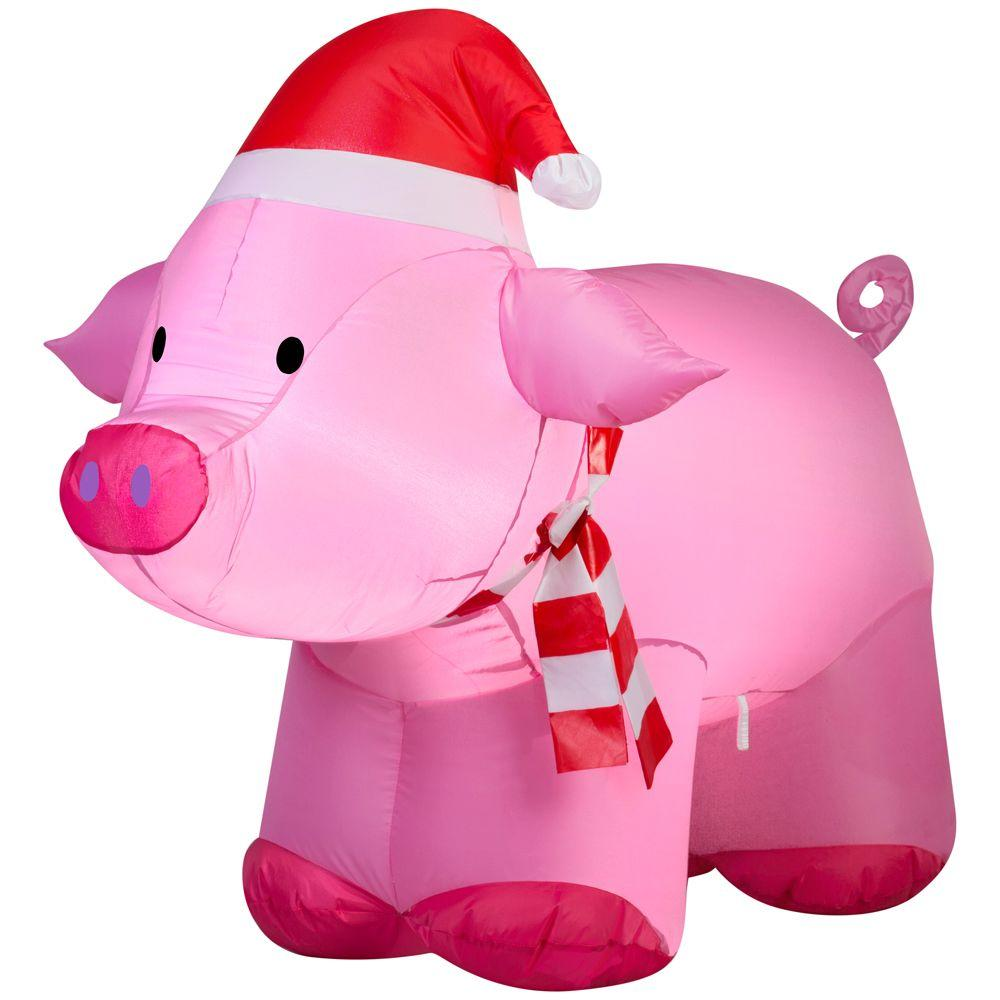 Home accents holiday 3 ft lighted inflatable outdoor pig for 3 d lighted christmas pig holiday outdoor decoration