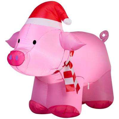 3 ft. Lighted Inflatable Outdoor Pig
