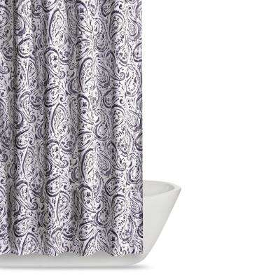 Watercolor Paisley 72 in. Eggplant Shower Curtain