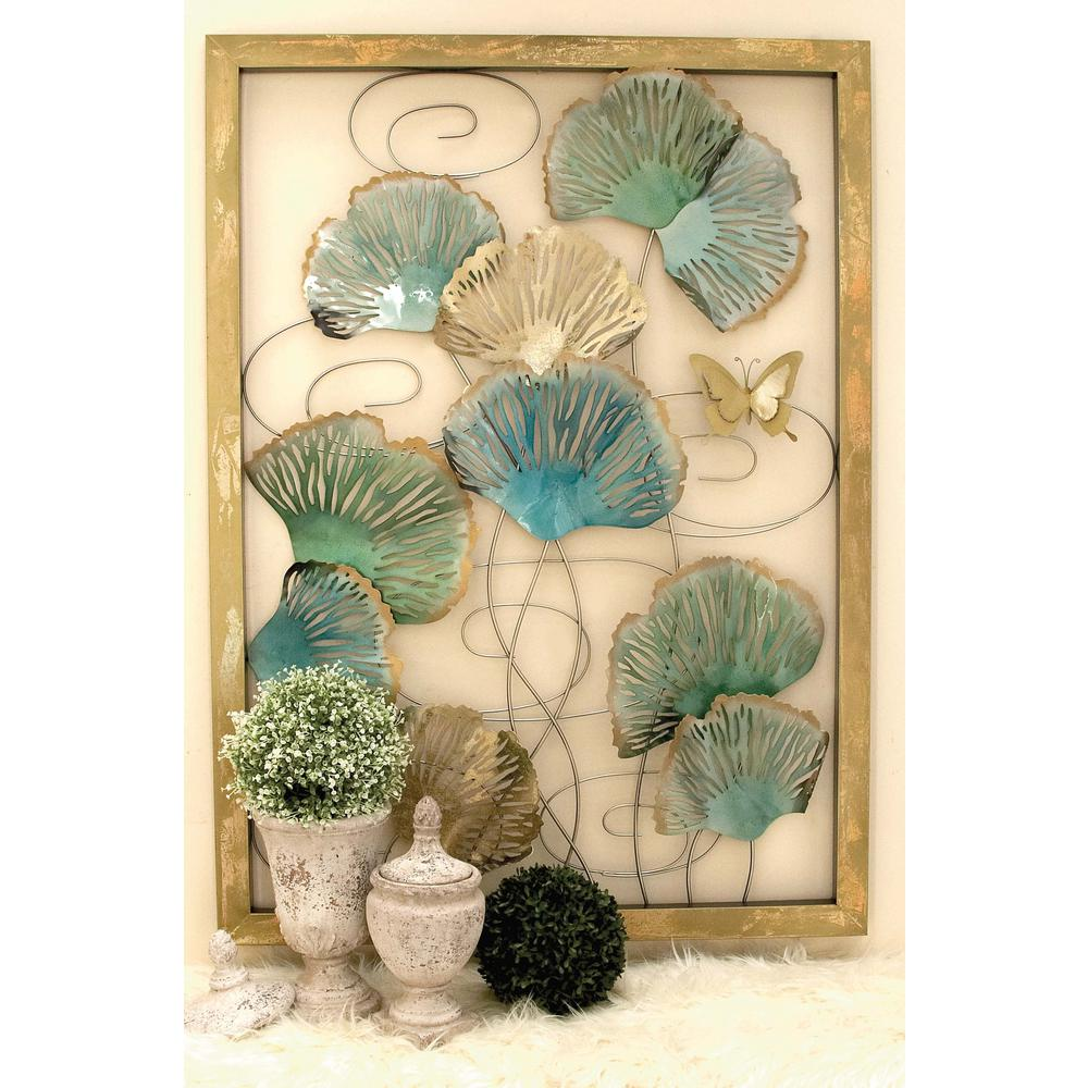 55 In X 40 In Framed Iron Lotus Leaves Wall Decor In