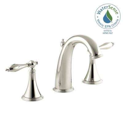 Finial Traditional 8 In. Widespread 2 Handle High Arc Bathroom Faucet In  Polished