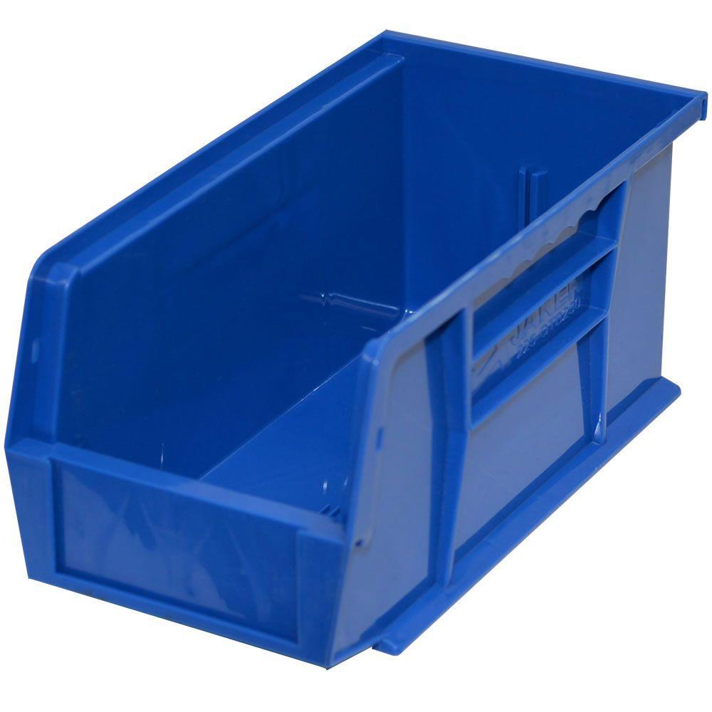 4-1/2 in. W x 10-7/8 in. D x 5 in. H Stackable Plastic Storage Bin in Blue (12-Pack)