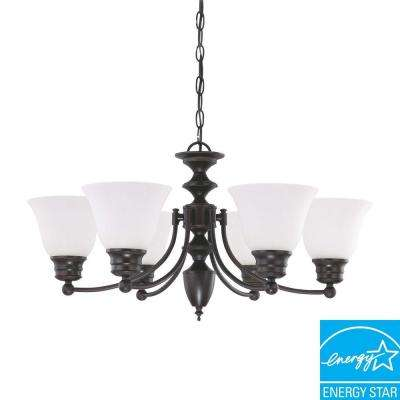 6-Light Mahogany Bronze Fluorescent Ceiling Chandelier