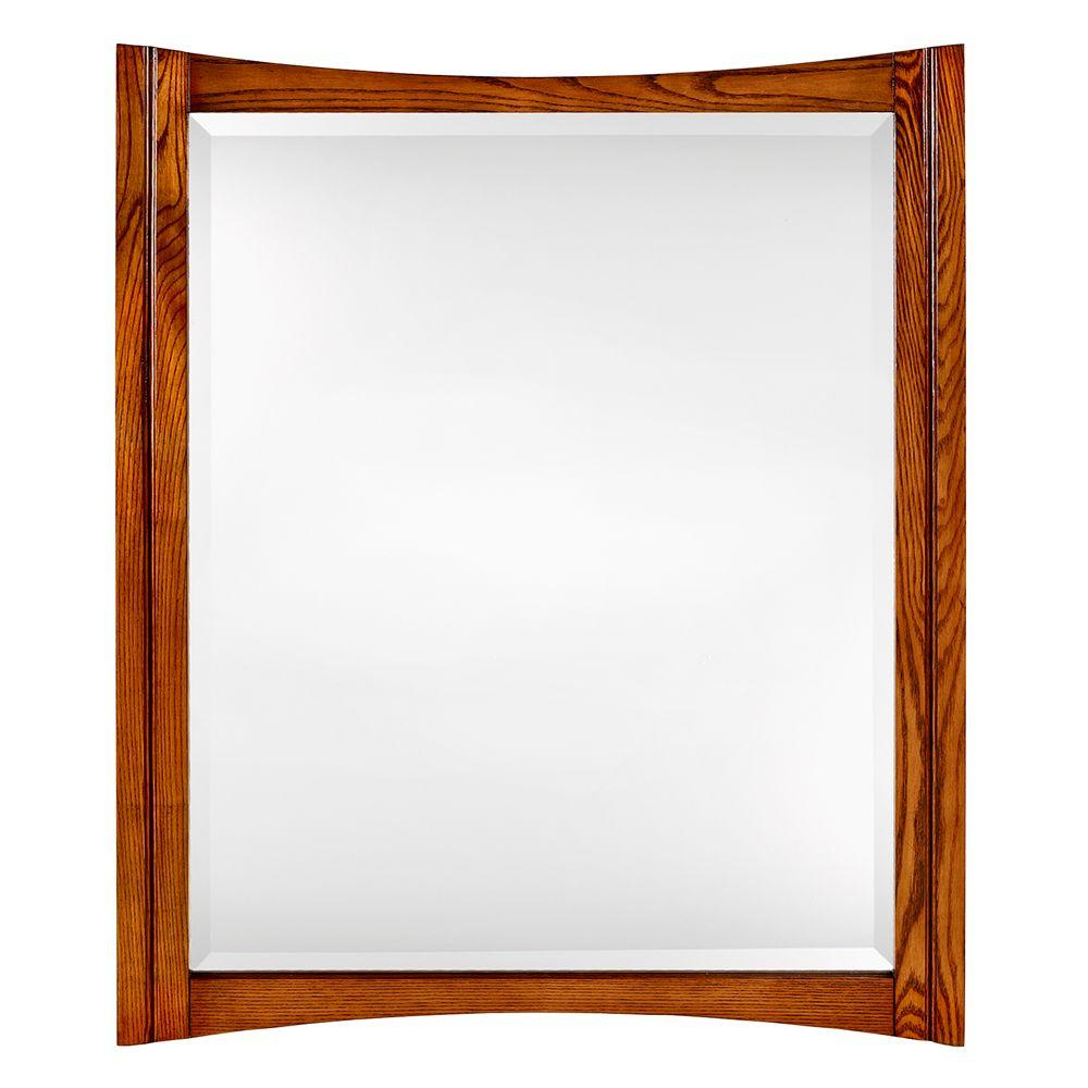 Home Decorators Collection Zen 34 in. x 28 in. Framed Mirror in Oak-DISCONTINUED