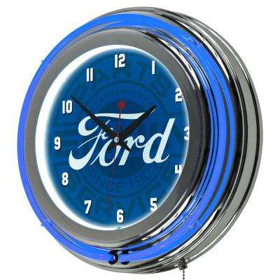 3 in. x 14 in. Genuine Parts Chrome Double Rung Neon Wall Clock