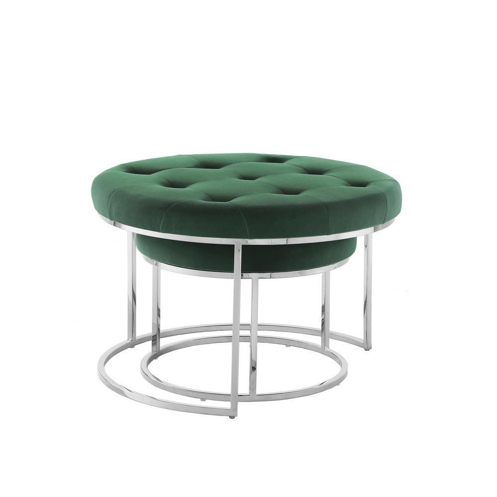 Draven Nesting Ottoman Green/Chrome Velvet Button Tufted Metal Frame (Set of 2)