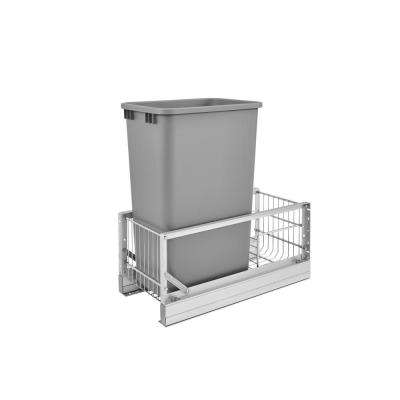 23.13 in. H x 10.75 in. W x 21.94 in. D Single 50 Qt. Pull-Out Brushed Aluminum and Silver Waste Container