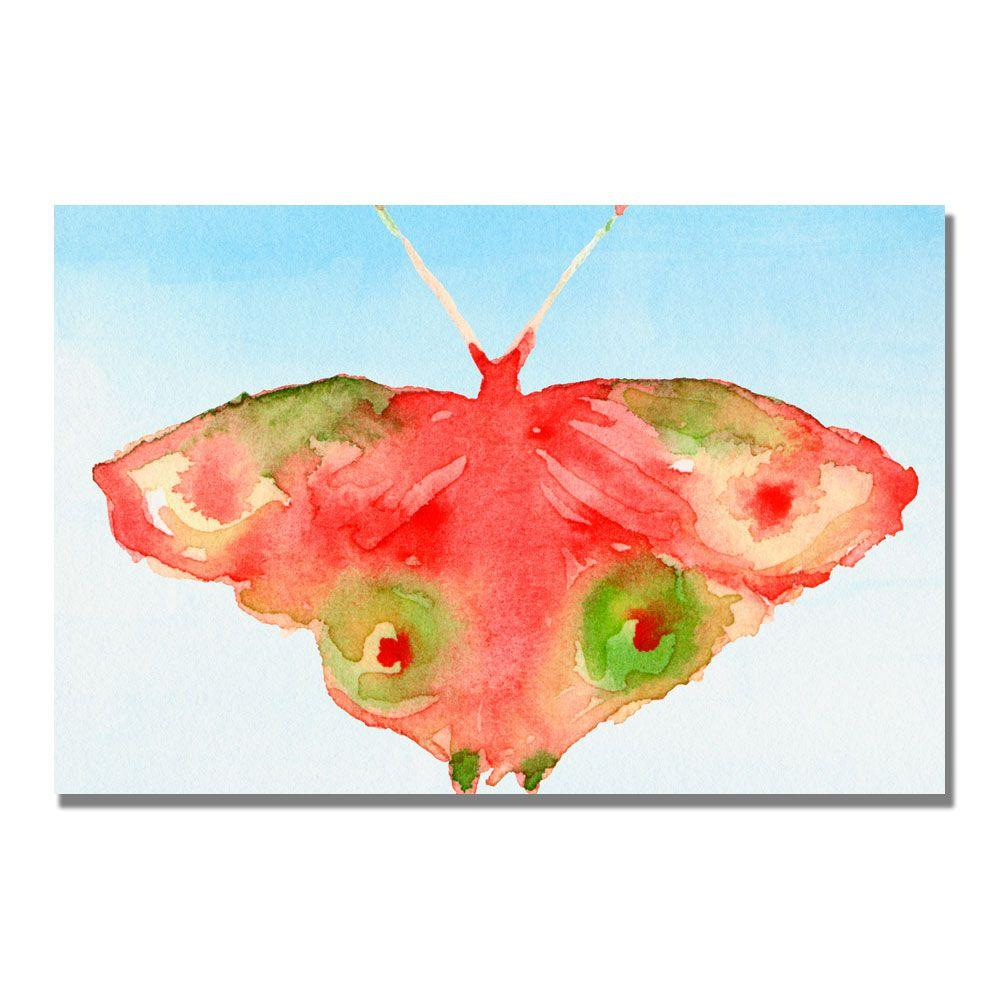 Trademark Fine Art 16 in. x 24 in. Fantasy Butterfly Red and Green Canvas Art-DISCONTINUED