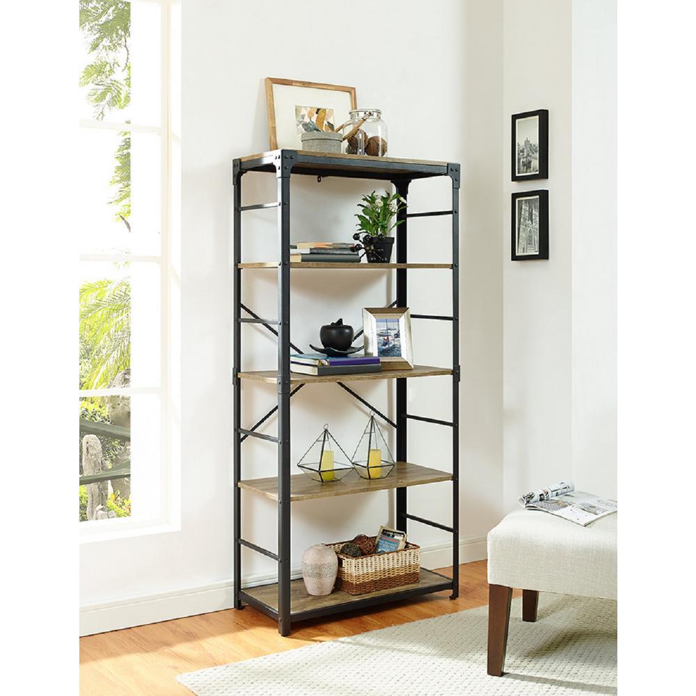 64 in. Barnwood Angle Iron Bookshelf