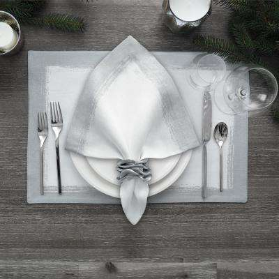 21 in. x 21 in. White Metallic Brushstroke Napkins (Set of 4)