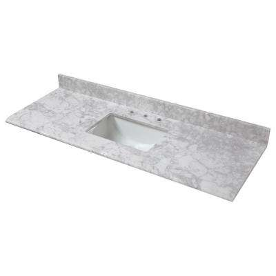61 in. W x 22 in. D Marble Single Trough Sink Vanity Top in Carrara