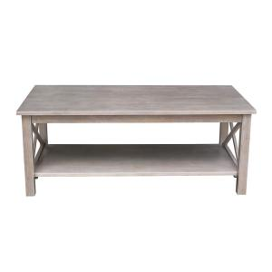 Hampton 46 in. Weathered Taupe Gray Large Rectangle Wood Coffee Table with Shelf