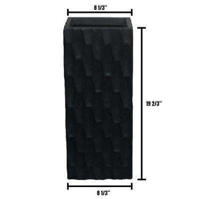 Small 8 in. x 8 in. x 20 in. Lightweight Concrete Modern Rough Surface Rectangle Black Planter