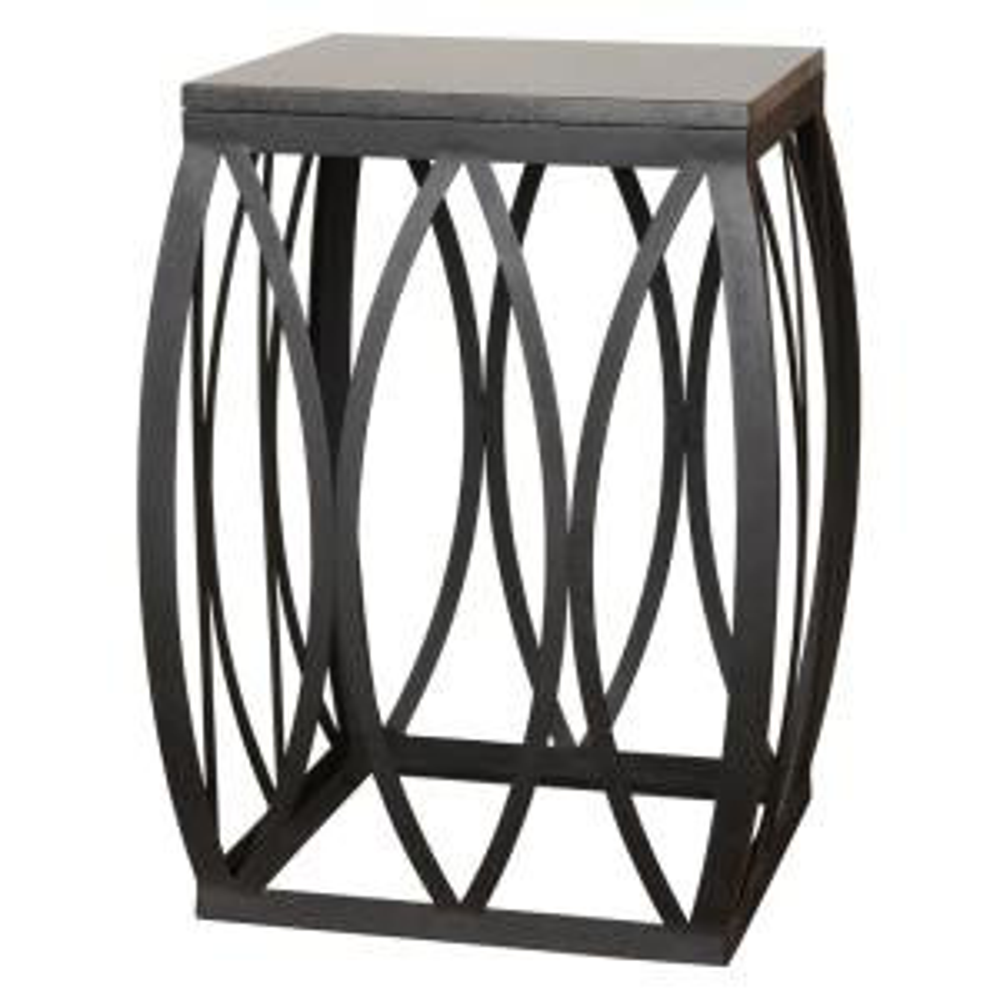 23 in. Vault Black Metal Side Table/Stool with a Black Granite Top