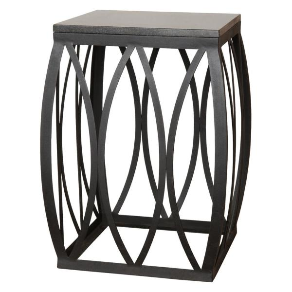 23 in. Vault Black Metal Side Table/Stool with a Black Granite Top