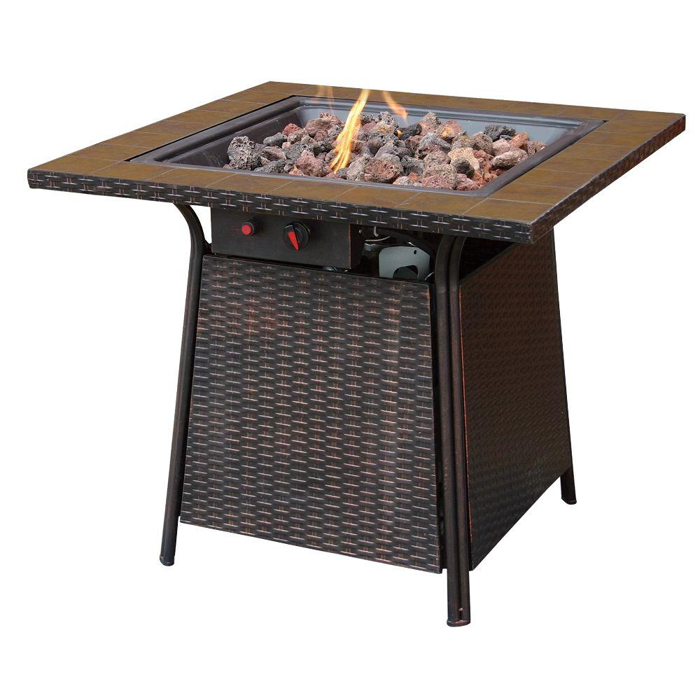 Uniflame bronze faux wicker 32 in propane gas fire pit with uniflame bronze faux wicker 32 in propane gas fire pit with ceramic tile surround gad1001b the home depot dailygadgetfo Choice Image