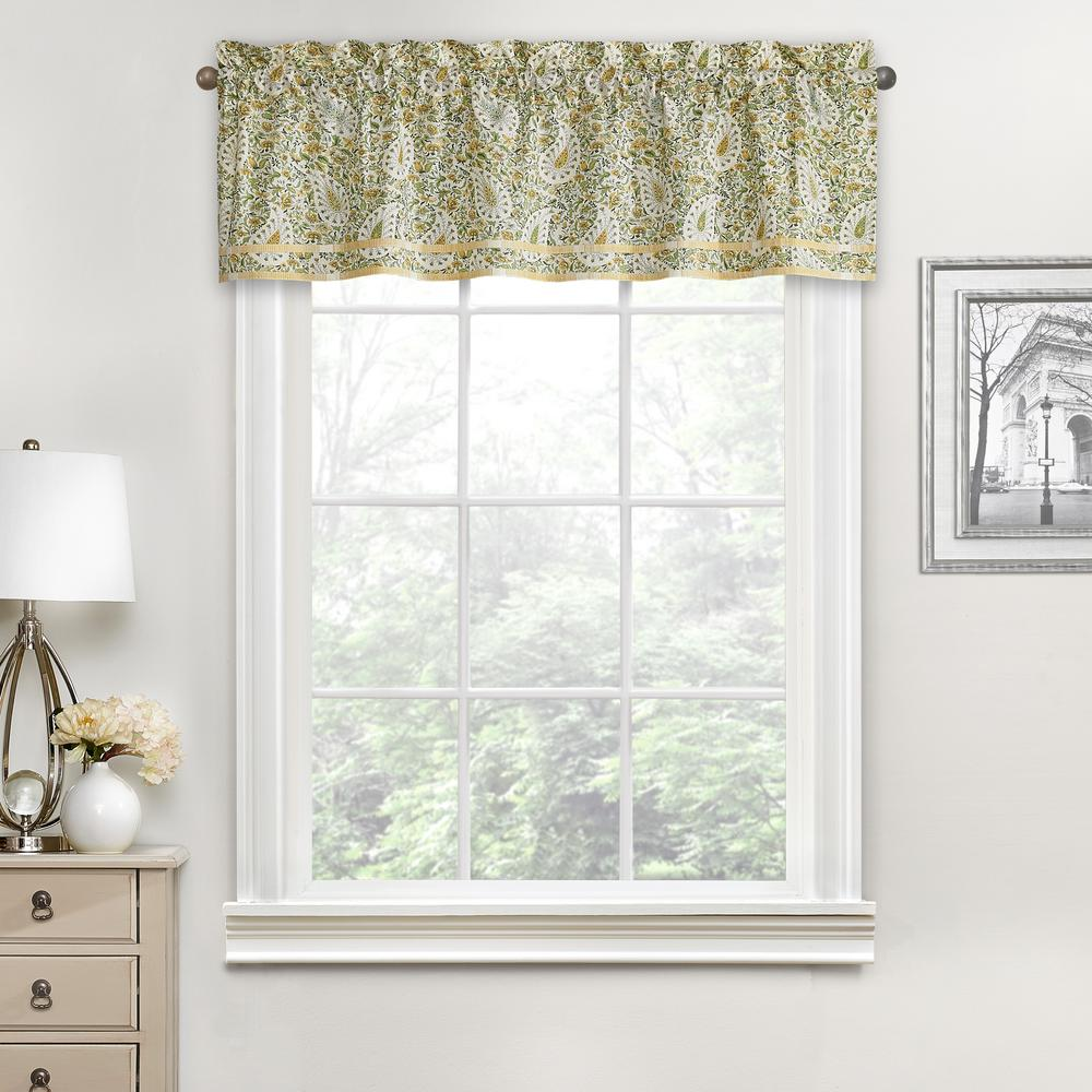 Waverly Paisley Verveine Cotton Window Valance In Spring