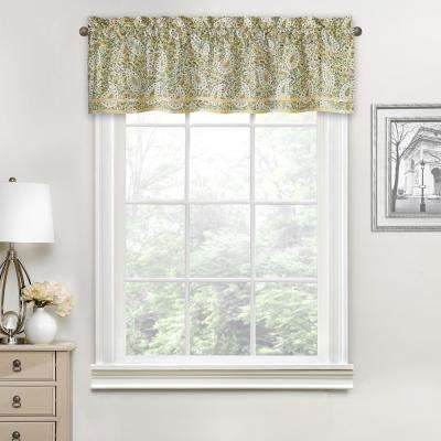 Paisley Verveine Cotton Window Valance in Spring - 52 in. W x 16 in. L