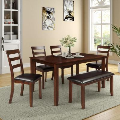 6-Piece Brown Dining Set with 4 Ladder Chairs and Bench