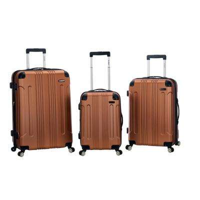 Rockland Sonic 3-Piece Hardside Spinner Luggage Set, Brown