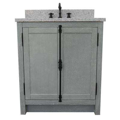 Plantation 31 in. W x 22 in. D Bath Vanity in Gray with Granite Vanity Top in Gray with White Oval Basin